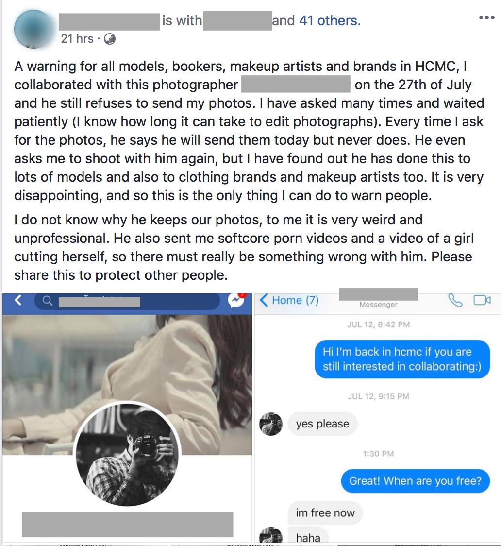 Một nhiếp ảnh gia tên tuổi bị hàng loạt người mẫu Tây tố làm việc thiếu chuyên nghiệp, gửi clip nhạy cảm để trêu đùa - Ảnh 1.