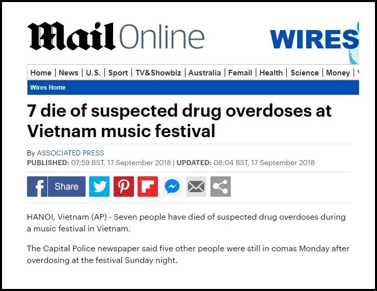 Báo nước ngoài đồng loạt đưa tin vụ 7 người chết do sốc thuốc tại lễ hội âm nhạc ở Hà Nội 3