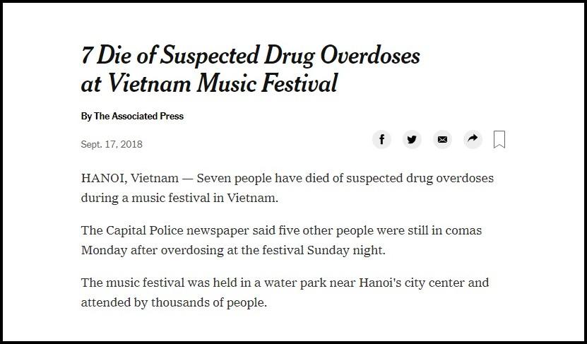 Báo nước ngoài đồng loạt đưa tin vụ 7 người chết do sốc thuốc tại lễ hội âm nhạc ở Hà Nội 1
