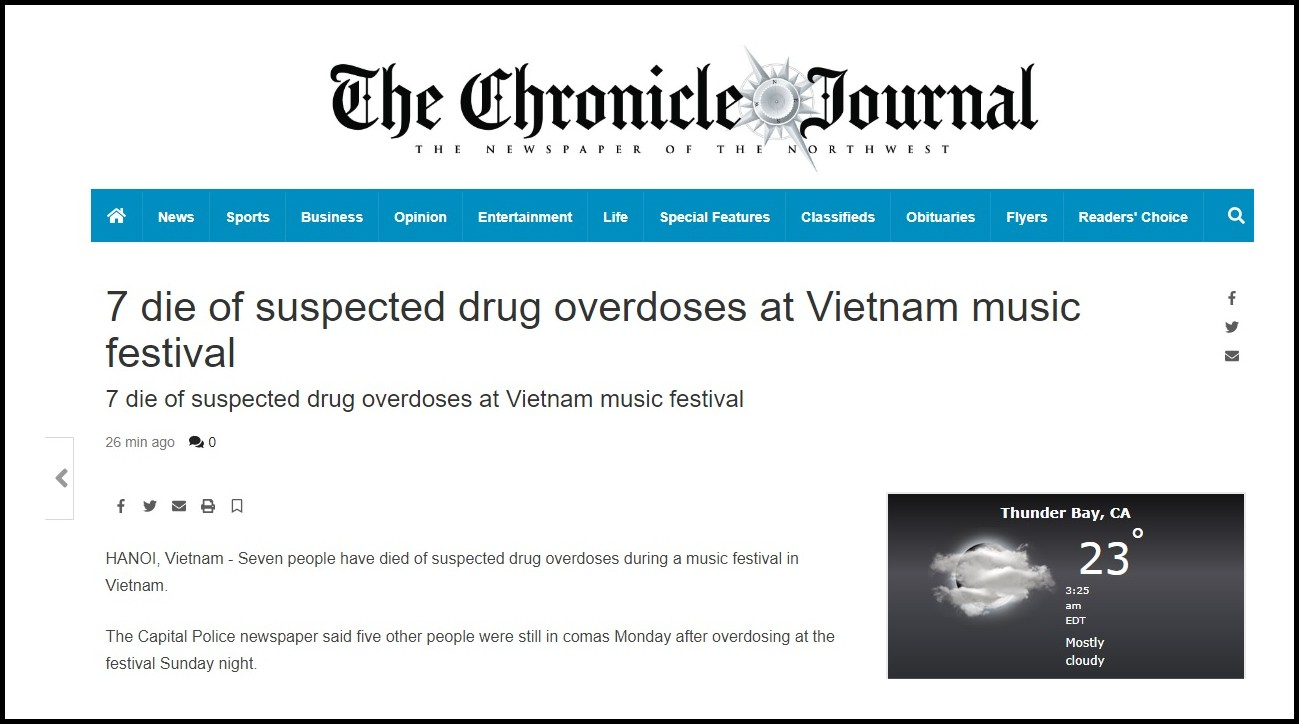 Báo nước ngoài đồng loạt đưa tin vụ 7 người chết do sốc thuốc tại lễ hội âm nhạc ở Hà Nội 5