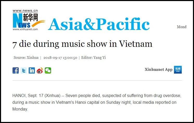 Báo nước ngoài đồng loạt đưa tin vụ 7 người chết do sốc thuốc tại lễ hội âm nhạc ở Hà Nội 2