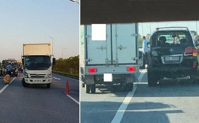 Hiện trường vụ tài xế Lexus biển tứ quý 8 bị xe tải đâm tử vong khi làm việc với CSGT - Ảnh 1.