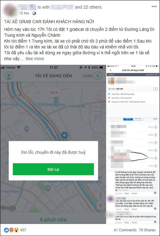 Nữ hành khách tố bị tài xế GrabCar hành hung giữa đường phố Hà Nội: Anh ta liên tục gọi điện dọa nạt, bảo biết nhà tôi rồi đấy - Ảnh 1.