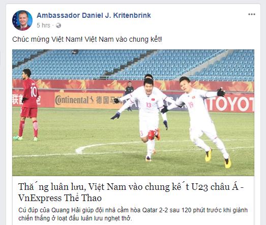 Đại sứ Mỹ chúc mừng đội tuyển U23 Việt Nam giành chiến thắng vang dội, vào chung kết U23 châu Á