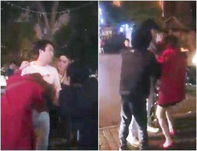 """Clip người phụ nữ bị chồng túm tóc, lôi ra khỏi taxi vì """"bỏ con ốm ở nhà để đi cùng người đàn ông Hàn Quốc"""" gây xôn xao - Ảnh 1."""