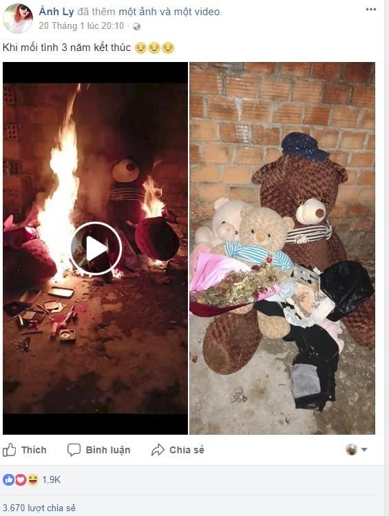 Clip: Chia tay mối tình 3 năm, cô gái nhóm lửa thiêu trụi quà