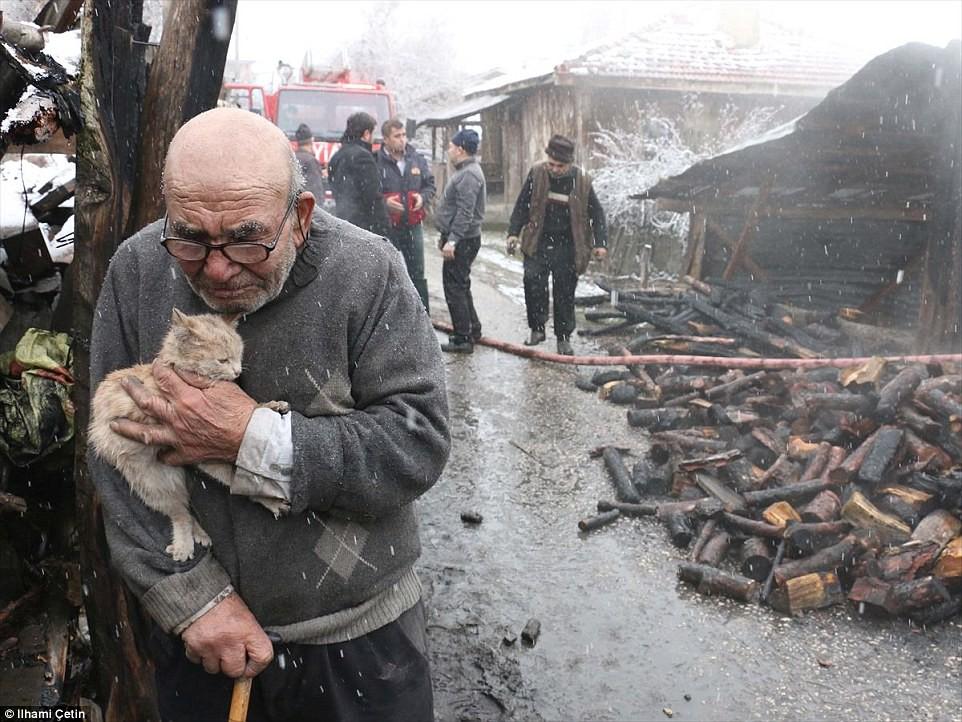 Nhà cửa cháy rụi, tài sản không còn gì, cụ ông 83 tuổi vẫn ôm ghì chú mèo con thổn thức trong giá lạnh