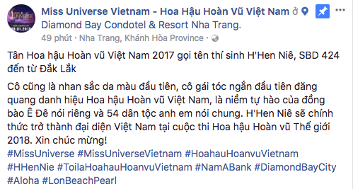"""Fanpage Hoa hậu Hoàn vũ Việt Nam bị chỉ trích khi gọi HHen Niê là """"hoa hậu da màu đầu tiên"""" - Ảnh 1."""