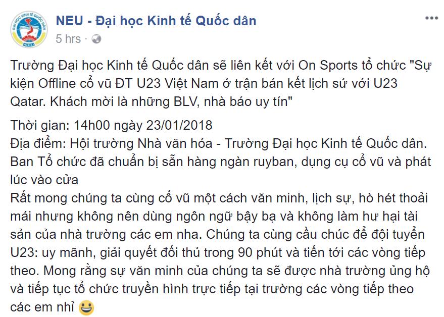 Đại học Kinh tế Quốc dân cho sinh viên nghỉ học cỗ vũ U23 Việt Nam 1