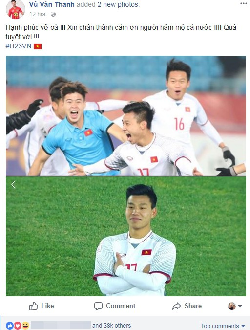 Các chàng trai U23 Việt Nam chia sẻ gì trên Facebook sau kỳ tích lịch sử?