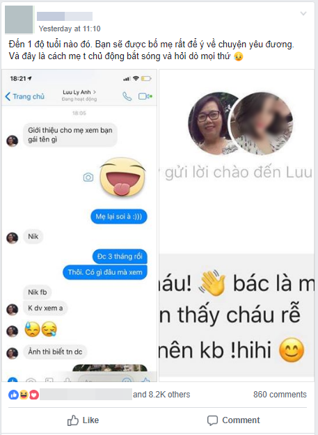 Đọc comment phát hiện con trai có người yêu, bà mẹ xì tin mày mò tìm Facebook cô gái làm quen: Thấy cháu dễ thương nên cô kết bạn - Ảnh 1.