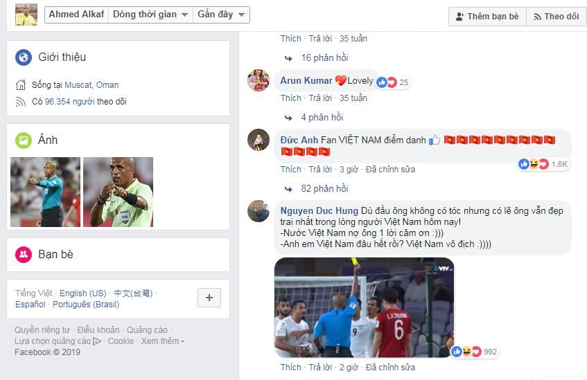 Fan Việt vào trang cá nhân của ông Al-Kaf để cảm ơn.