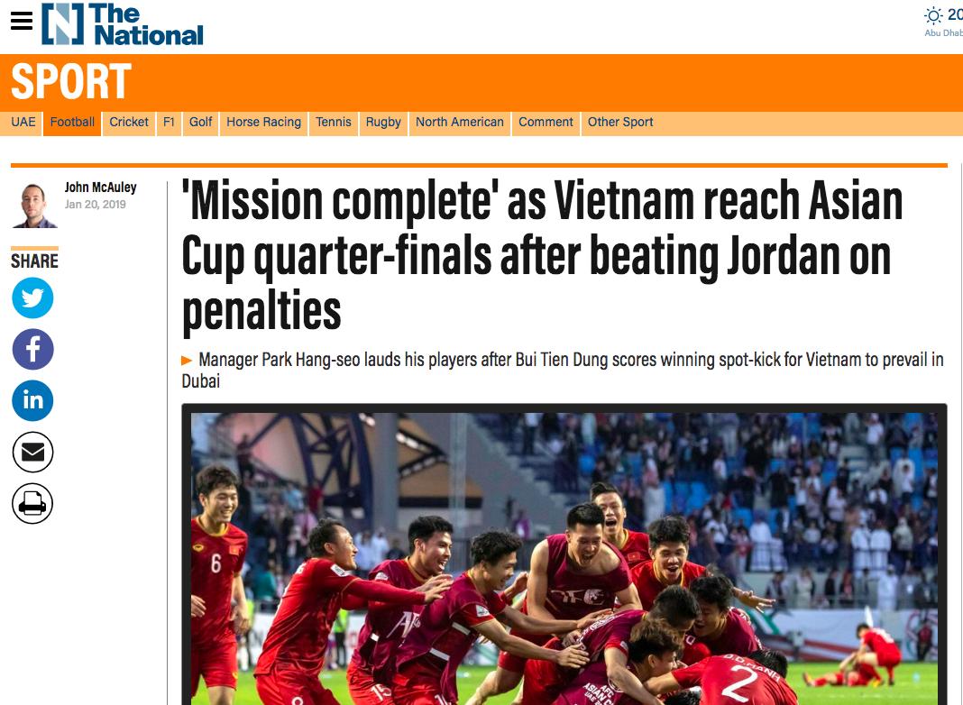 Báo nước ngoài đồng loạt đưa tin Việt Nam vào tứ kết: Rồng vàng Châu Á, sẽ đánh bại Nhật Bản ở Asian Cup - Ảnh 10.
