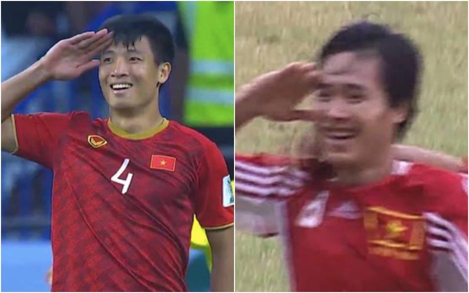 Hoá ra 20 năm trước, tiền vệ Hồng Sơn cũng ăn mừng chiến thắng theo phong cách hệt như Bùi Tiến Dũng - Ảnh 2.