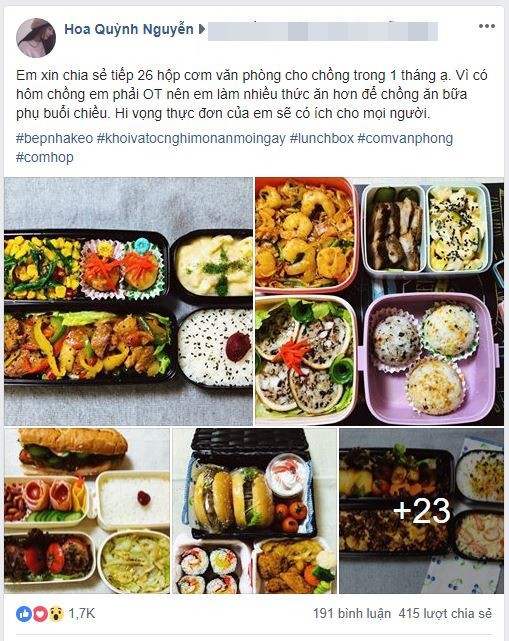 Tròn mắt thán phục người vợ quốc dân: Mỗi ngày chồng đi làm là một hộp cơm vừa ngon vừa đẹp, đủ 26 bữa/tháng - Ảnh 1.