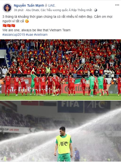 Thủ môn Nguyễn Tuấn Mạnh cũng đúc kết lại hành trình tại Asian Cup bằng lời cảm ơn: