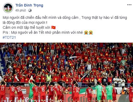 Ở Hàn Quốc điều trị chấn thương, trung vệ Trần Đình Trọng luôn dõi theo, ủng hộ và tự hào về đội tuyển Việt Nam.