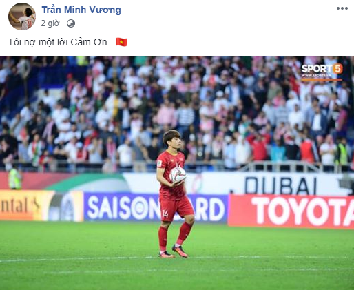 Trần Minh Vương có lẽ là người tiếc nuối nhất đội tuyển sau Asian Cup 2019. Cú sút luân lưu không thành công trong trận gặp Jordan khiến anh vẫn canh cánh trong lòng. Dẫu sao, bóng đá là môn thể thao tập thể, toàn đội đã vào đến tứ kết giải vô địch châu Á, đó cũng là điều chàng tiền vệ người Thái Bình thấy biết ơn và tự hào.