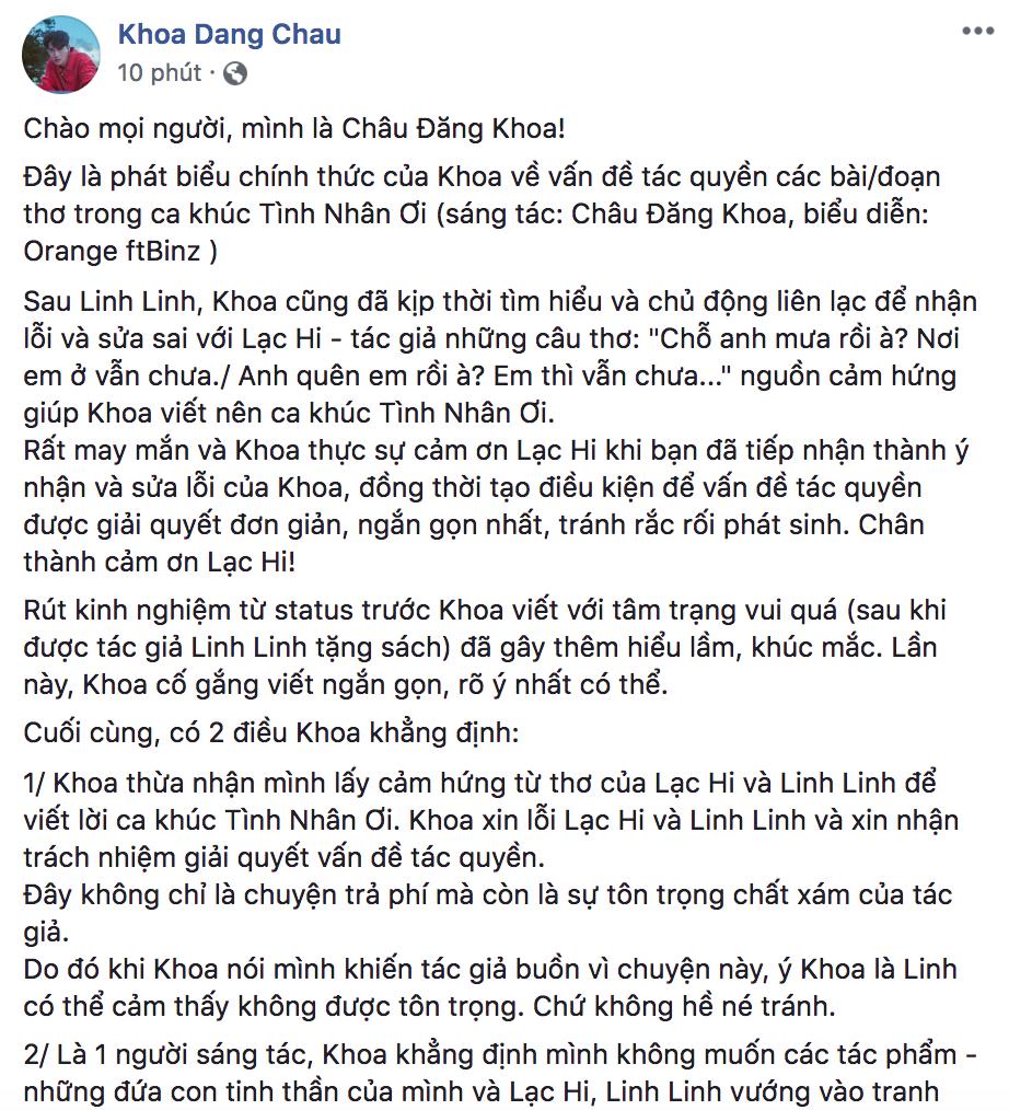 Châu Đăng Khoa thừa nhận mượn thêm ý thơ của một tác giả khác để viết Tình Nhân Ơi, gửi lời xin lỗi về ồn ào - Ảnh 1.