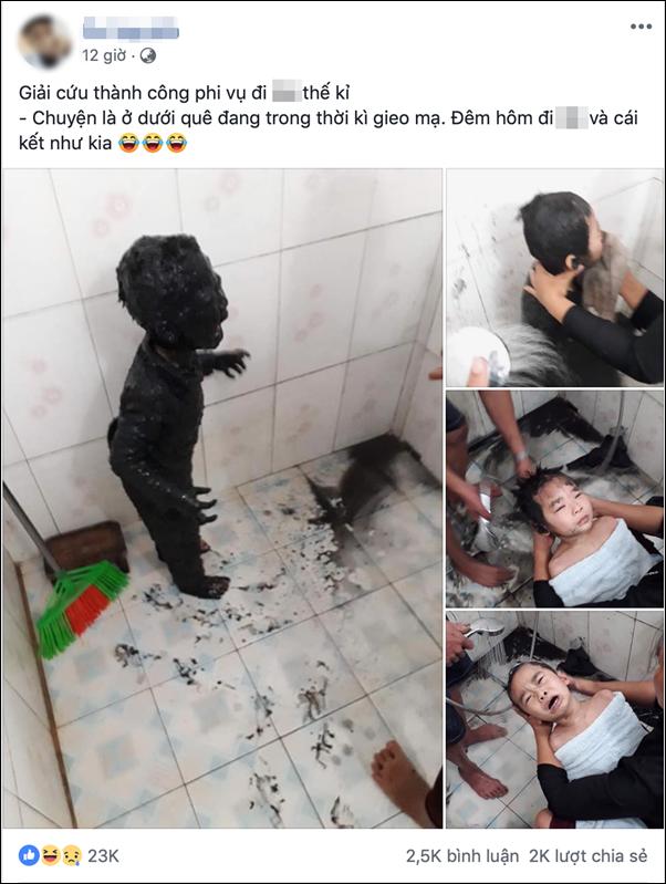 Giải cứu thành công phi vụ đi tè thế kỷ: Cậu bé đi vệ sinh đêm bị ngã vào bùn gieo mạ, toàn thân đen sì không hở một chỗ trống - Ảnh 1.