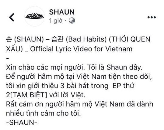 """Sau sự khuynh đảo của hit """"Way Back Home"""", SHAUN bất ngờ dành tặng món quà đặc biệt này cho fan Việt - Ảnh 3."""