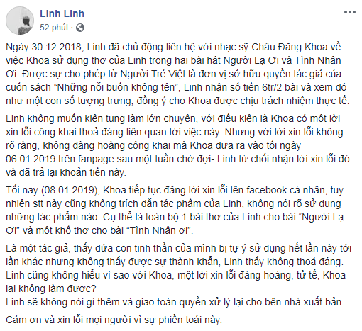 Châu Đăng Khoa thừa nhận mượn thêm ý thơ của một tác giả khác để viết Tình Nhân Ơi, gửi lời xin lỗi về ồn ào - Ảnh 4.