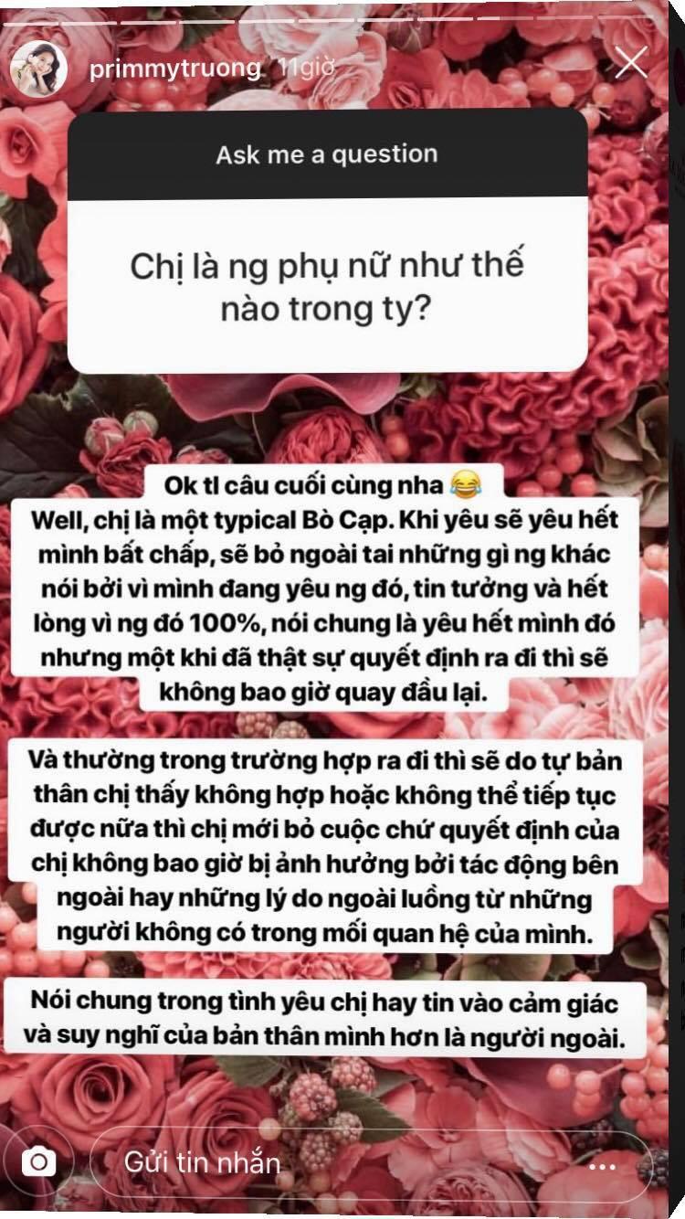 Primmy Trương chia sẻ mình là cô gái cung Bò Cạp yêu rất bản năng, khi hết tình thì sẽ tự động rời bỏ - Ảnh 2.