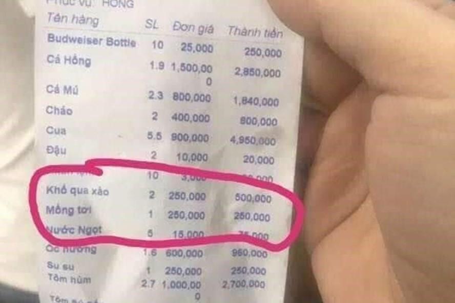 Vụ đĩa mồng tơi xào 250.000 đồng: Phạt nhà hàng 750.000 đồng - Ảnh 1.