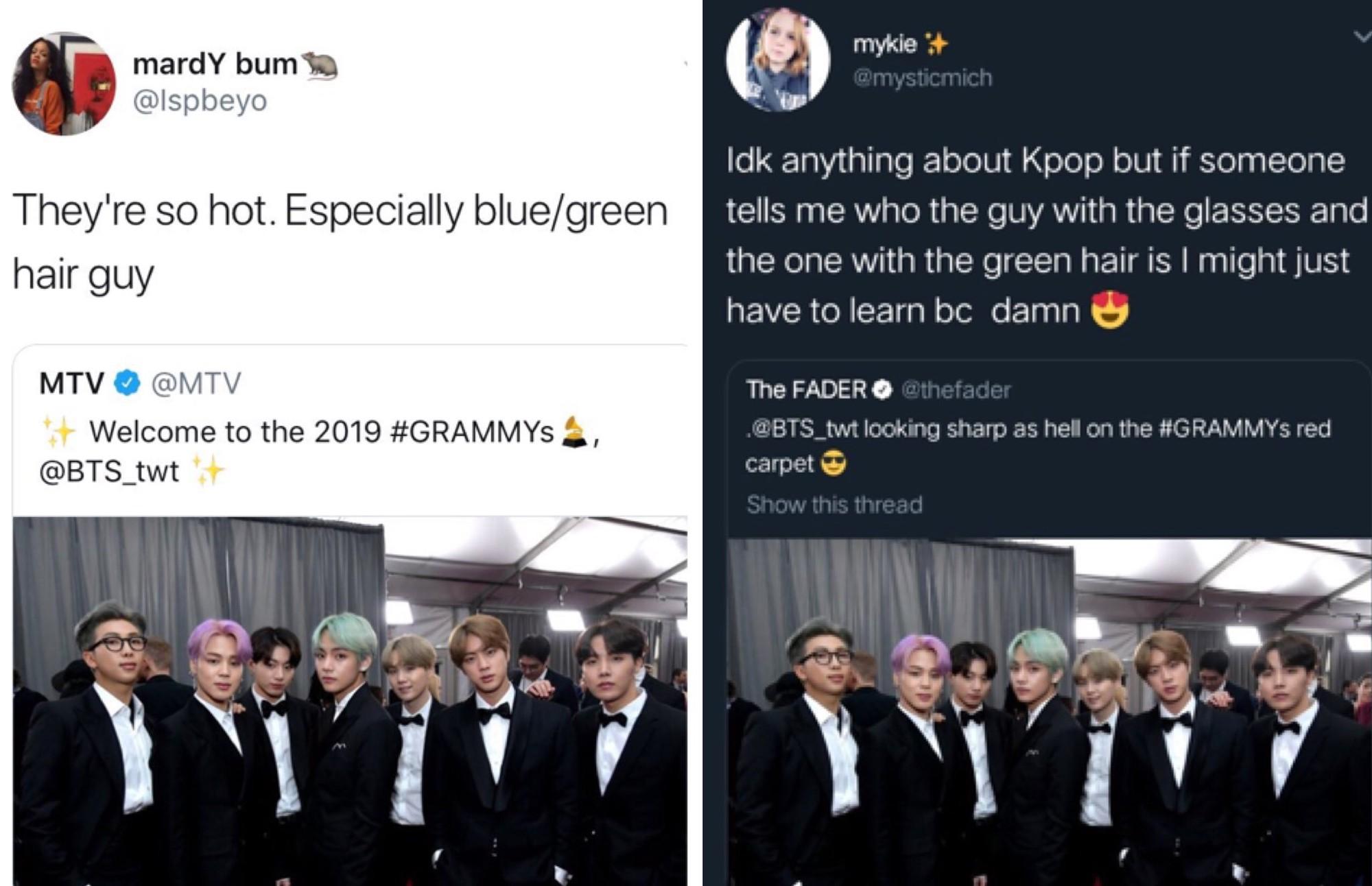 Chùm ảnh: Khoảnh khắc xuất thần của V (BTS) ở Grammy khiến dân tình phải thốt lên Chàng trai với mái tóc xanh lá là ai vậy? - Ảnh 2.
