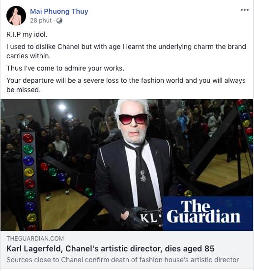 Hoa hậu Mai Phương Thuý, Á hậu Phương Nga và nhiều NTK, stylist thương tiếc trước sự ra đi của huyền thoại thời trang Karl Lagerfeld - Ảnh 1.
