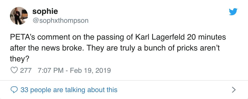 Karl Lagerfeld vừa ra đi, PETA đã có phát ngôn máu lạnh và sặc mùi mỉa mai - Ảnh 5.