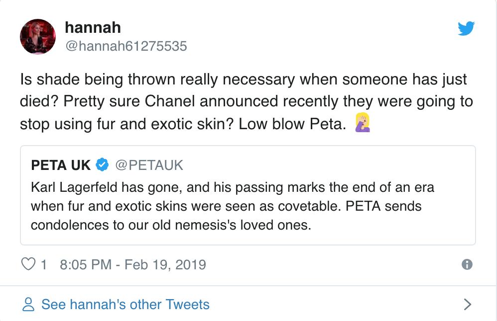 Karl Lagerfeld vừa ra đi, PETA đã có phát ngôn máu lạnh và sặc mùi mỉa mai - Ảnh 4.
