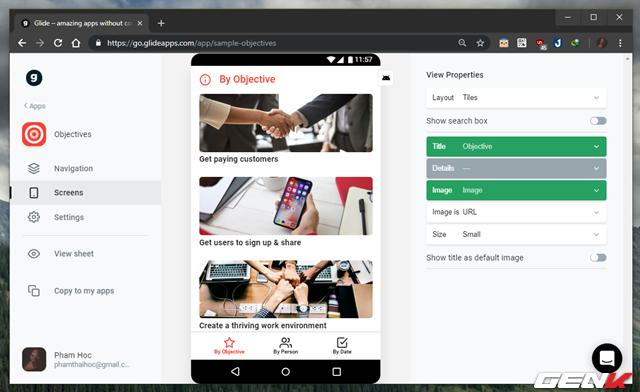 Glide– Xây dựng một trang ứng dụng di động từ Google Sheet mà không cần biết code