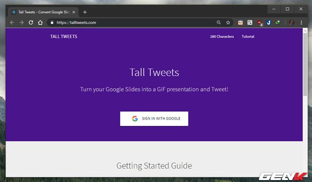Tall Tweets- Biến Google Slides thành định dạng GIF và chia sẻ nó lên Twitter