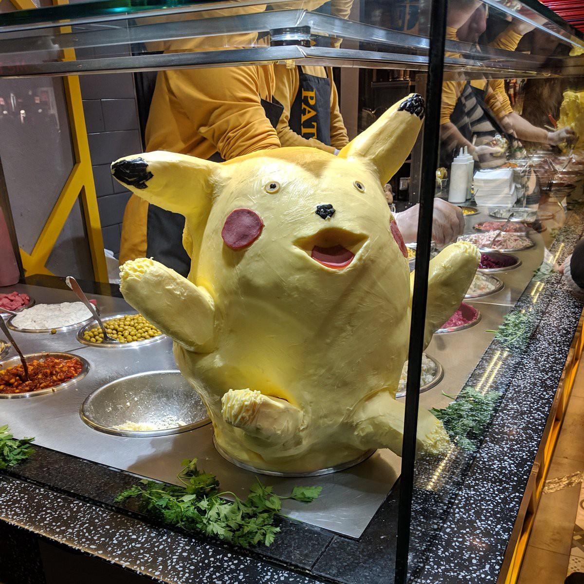 Pikachu làm từ bơ khiến thực khách không thể rời mắt vì vừa dị vừa đáng yêu - Ảnh 1.