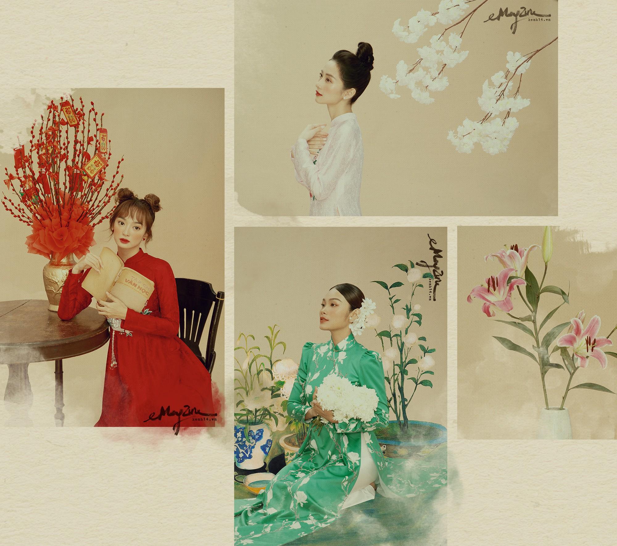 3 ngọc nữ mới của showbiz Jun Vũ, Kaity, Thanh Tú khoe vẻ đẹp thanh xuân trong bộ ảnh áo dài đầu năm - Ảnh 1.
