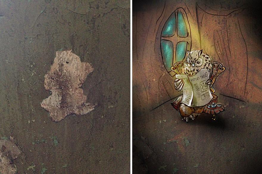 Trải qua ảo giác khuôn mặt Pareidolia ở mọi nơi, họa sĩ Nga bèn vẽ lại cho mọi người cùng xem - Ảnh 1.