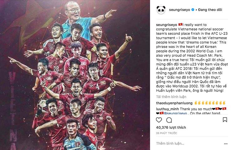 Có thể bạn chưa biết: Seungri từng gửi lời chúc đội U23 Việt Nam bằng tiếng Việt trên trang cá nhân, là một fan cứng của bóng đá