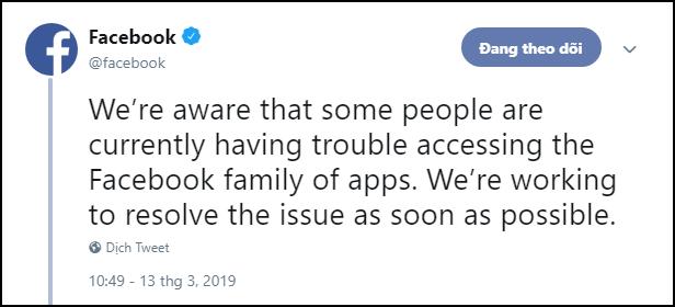 Facebook đêm qua lỗi nặng đến nỗi phải lên nhờ Twitter để trấn an cư dân mạng? - Ảnh 1.