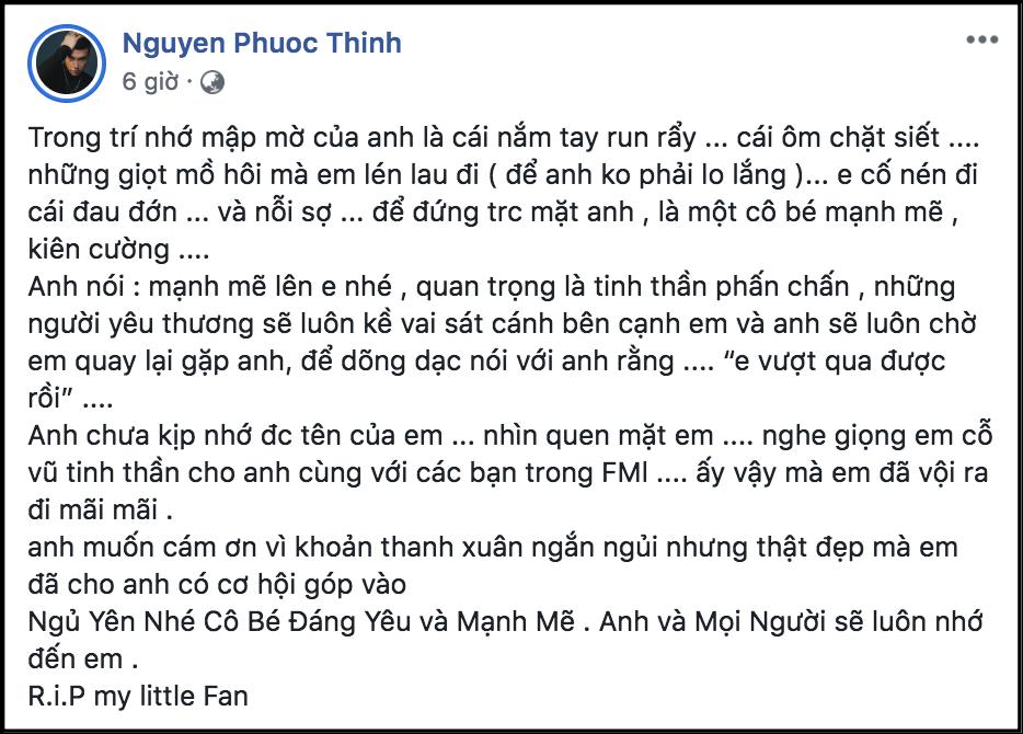 Noo Phước Thịnh viết tâm thư, đau buồn khi nghe tin fan ruột qua đời vì bị bệnh hiểm nghèo - Ảnh 1.