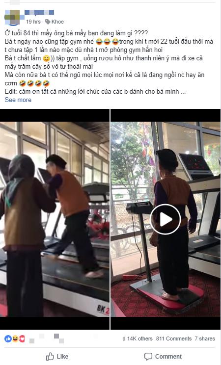 Cháu gái khoe bà chất chơi: 84 tuổi nhưng vẫn tập gym hàng ngày, đi xe máy cả mấy trăm cây số vô tư thoải mái - Ảnh 1.