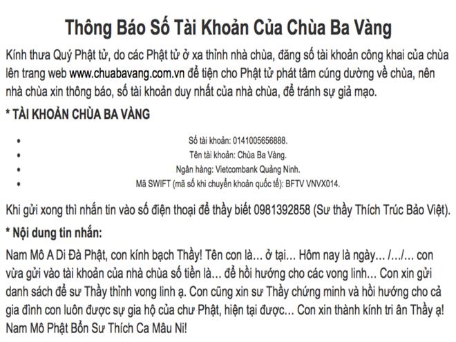 Website chùa Ba Vàng tạm thời không thể truy cập được - Ảnh 2.