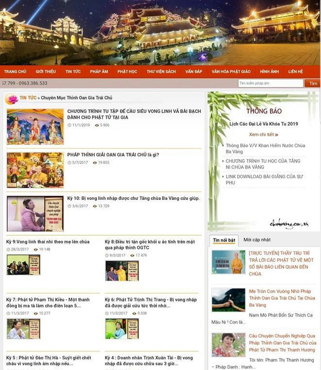 Website chùa Ba Vàng tạm thời không thể truy cập được - Ảnh 3.
