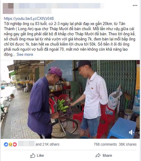 Ông cụ 83 tuổi lưng còng, rong ruổi đạp xe hơn 20km đi bán chuối để kiếm tiền nuôi vợ khiến nhiều người nhói lòng - Ảnh 1.