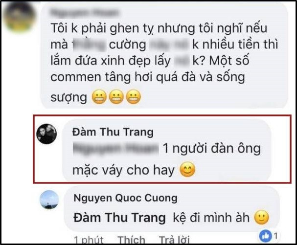 Cường Đô La mặc kệ khi bị chê bai nhưng bà xã Đàm Thu Trang lại phản ứng cực gắt: Một người đàn ông mặc váy! - Ảnh 1.