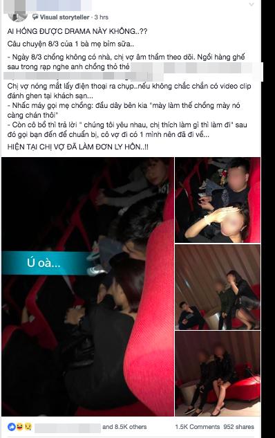 Bắt quả tang chồng và bồ nhí trong rạp chiếu phim tối ngày 8/3, vợ điếng người bởi câu nói của tình địch và cả mẹ chồng - Ảnh 1.