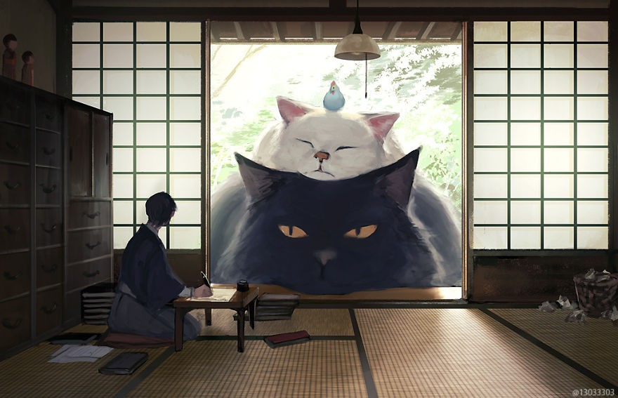 Họa sĩ Nhật Bản vẽ ra một thế giới nơi con người vui sống giữa những con thú khổng lồ - Ảnh 1.