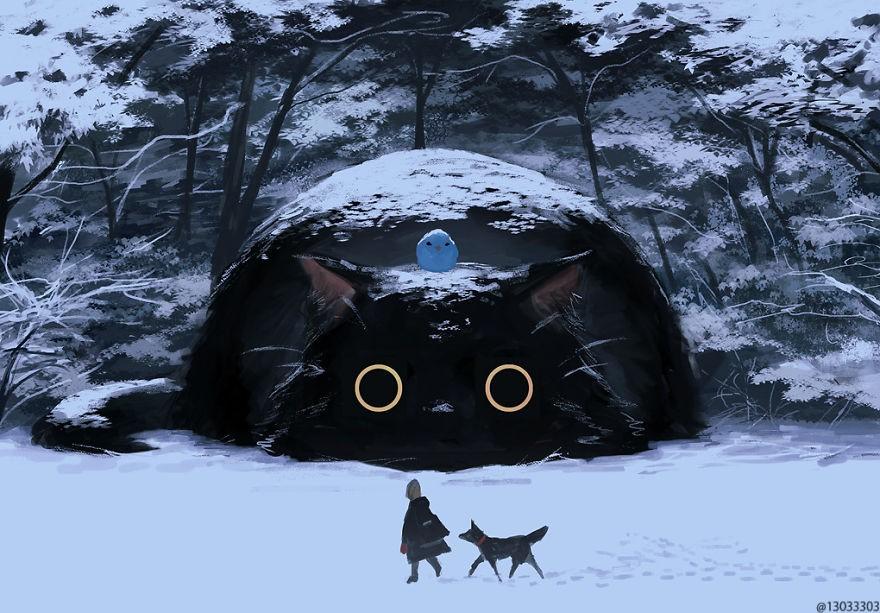 Họa sĩ Nhật Bản vẽ ra một thế giới nơi con người vui sống giữa những con thú khổng lồ - Ảnh 2.