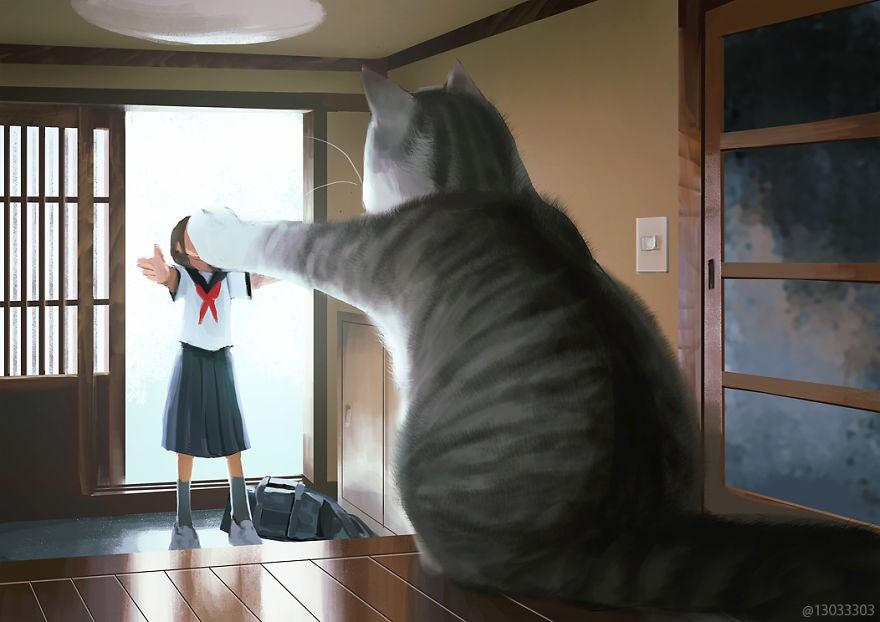 Họa sĩ Nhật Bản vẽ ra một thế giới nơi con người vui sống giữa những con thú khổng lồ - Ảnh 4.