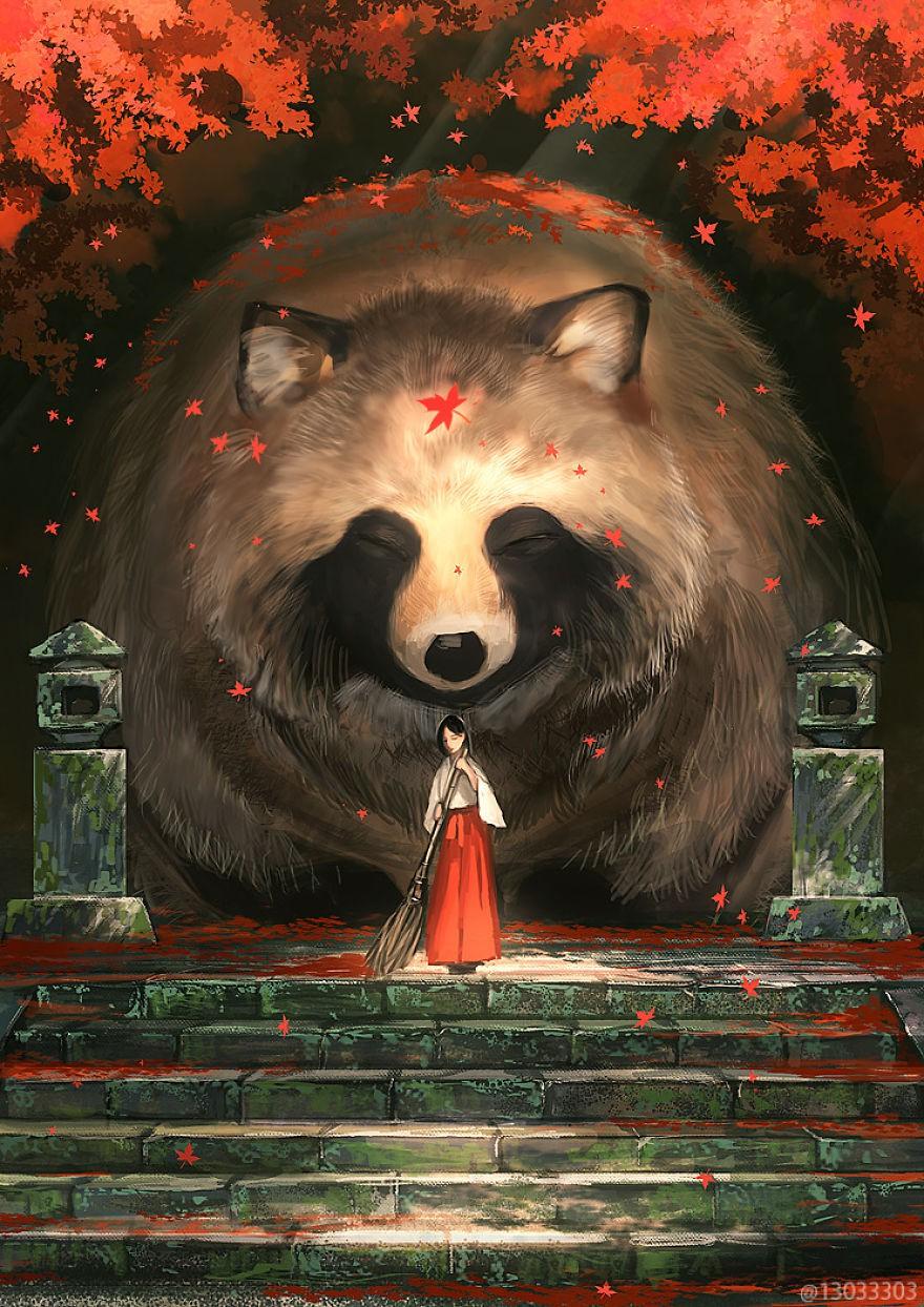 Họa sĩ Nhật Bản vẽ ra một thế giới nơi con người vui sống giữa những con thú khổng lồ - Ảnh 8.